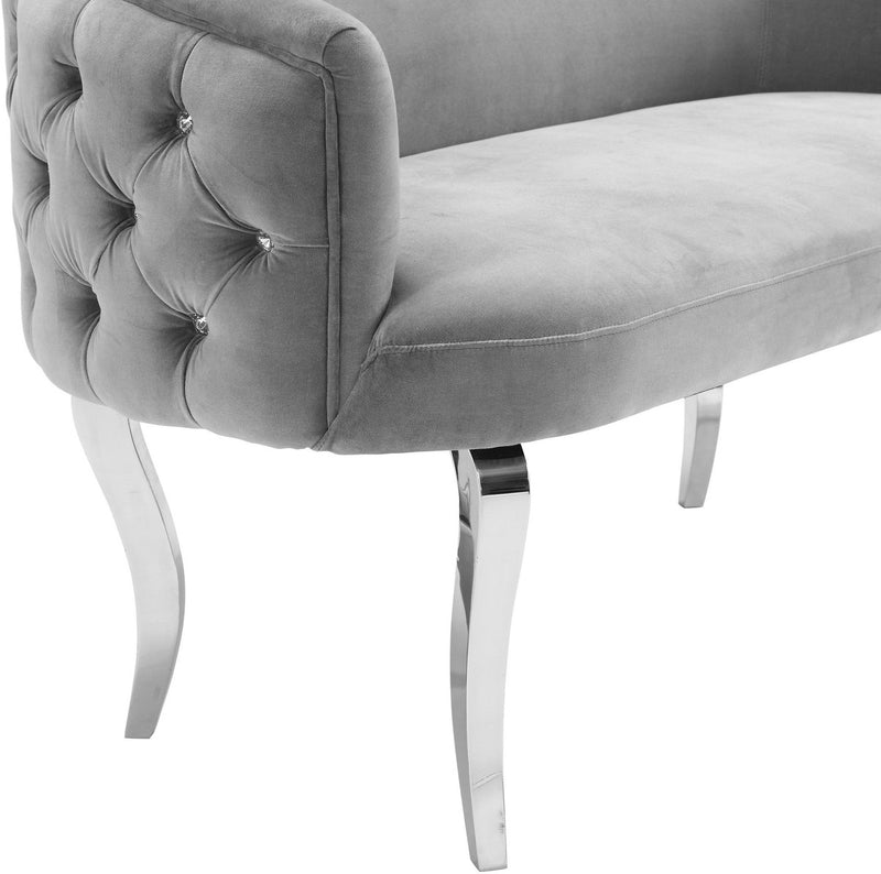 Adina Grey Velvet Loveseat