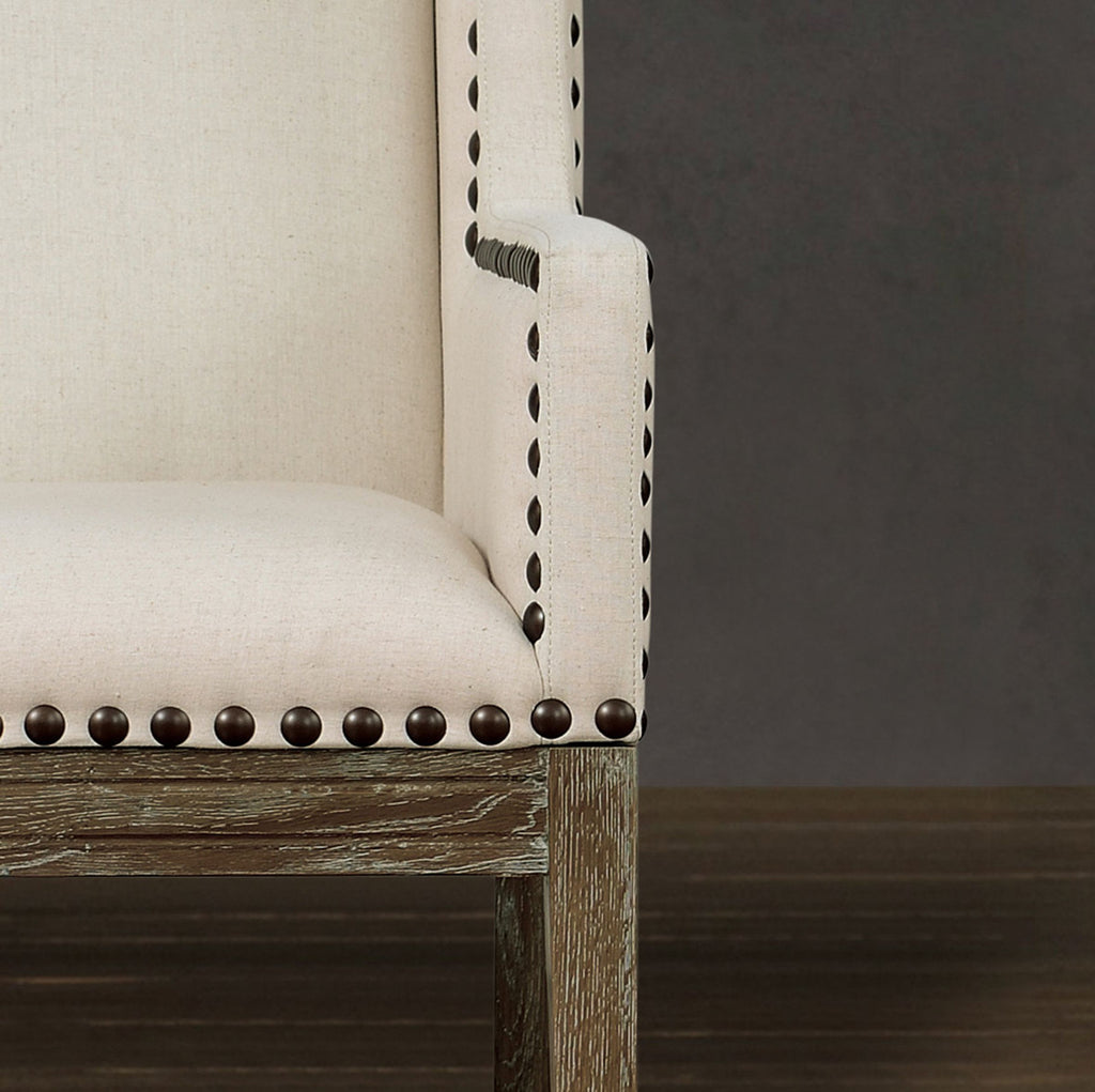 Tribeca Beige Linen Accent Chair
