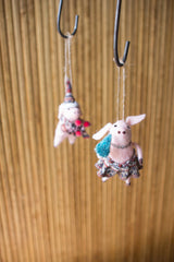 Set of Two Felt Christmas Pig Ornaments