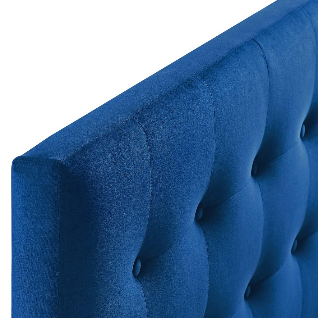 Emily Queen Biscuit Tufted Performance Velvet Headboard - Navy