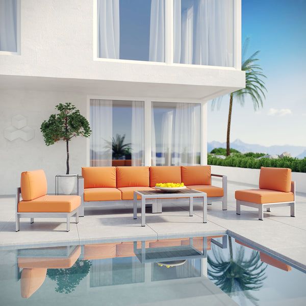 Shore 5 Piece Outdoor Patio Aluminum Sectional Sofa Set - Silver Orange