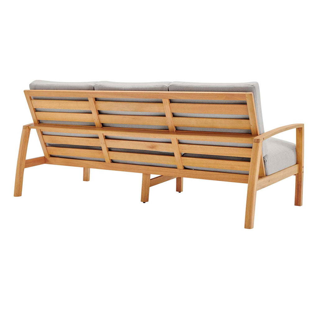 Orlean 4 Piece Outdoor Patio Eucalyptus Wood Set - Natural Light Gray