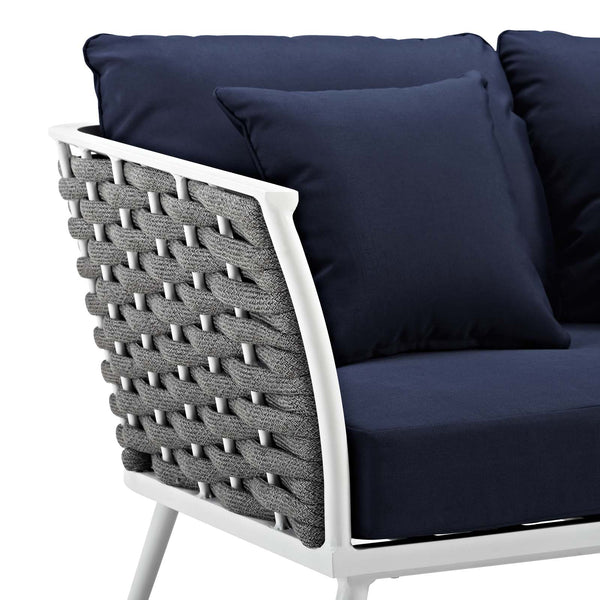 Stance Outdoor Patio Aluminum Sofa - White navy