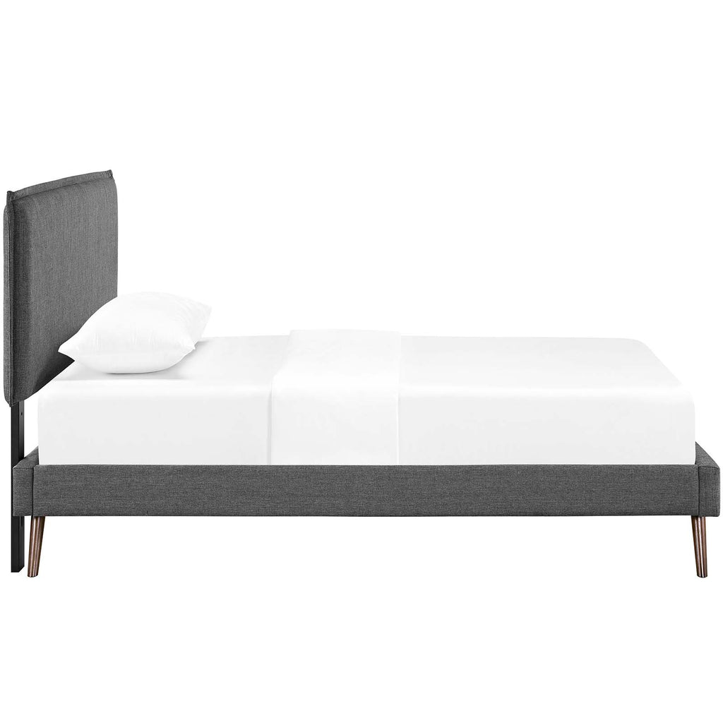Amaris Twin Fabric Platform Bed with Round Splayed Legs - Gray