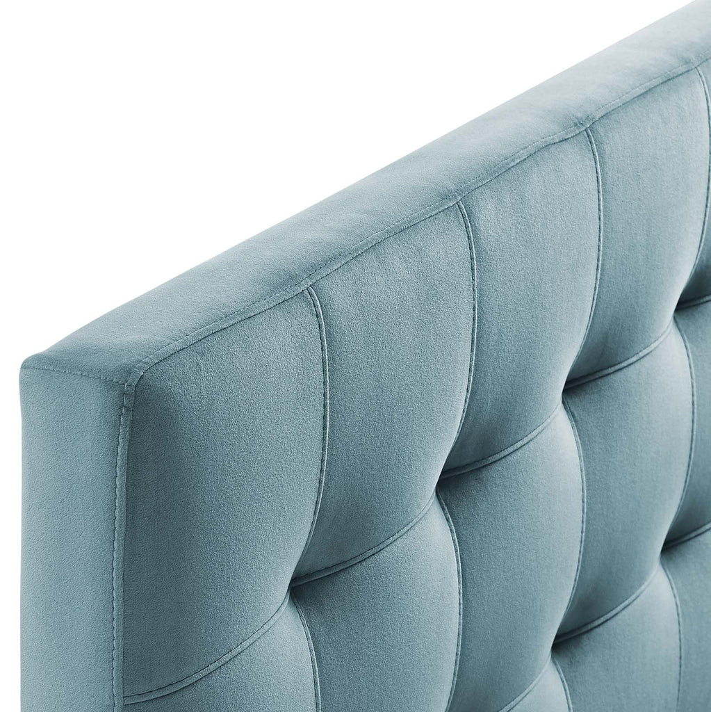 Lily King Biscuit Tufted Performance Velvet Headboard - Light Blue