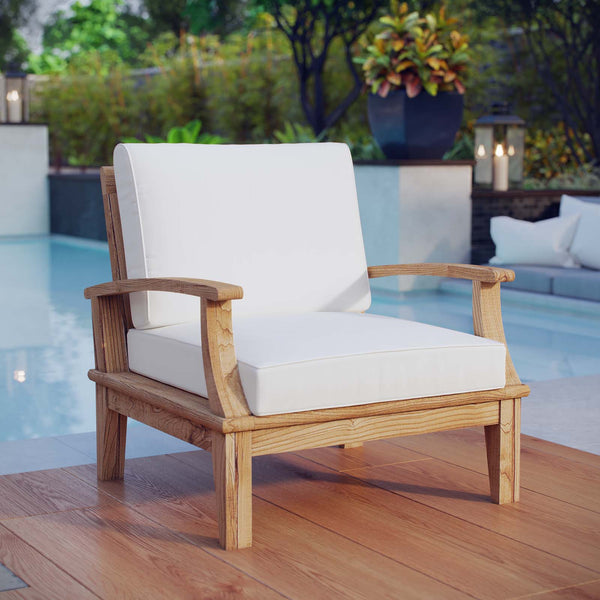 Marina Outdoor Patio Teak Armchair - Natural White