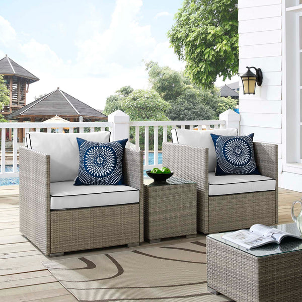 Repose 3 Piece Outdoor Patio Sectional Set - Light Gray White