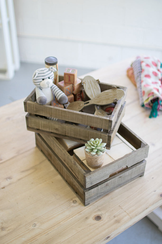 Set of Two Recycled Wooden Crates