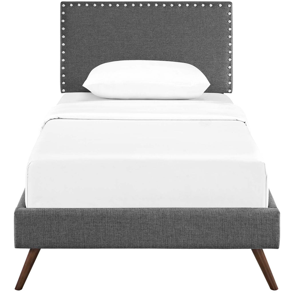 Macie Twin Fabric Platform Bed with Round Splayed Legs - Gray