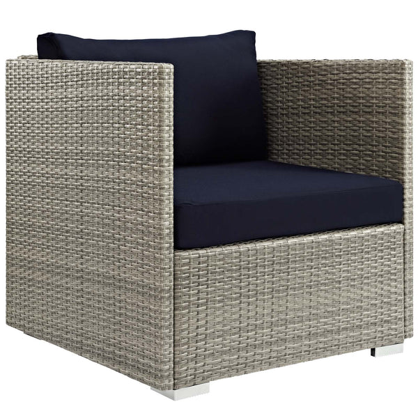 Repose 3 Piece Outdoor Patio Sunbrella Sectional Set - Light Gray Navy