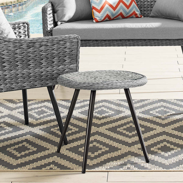 Endeavor Outdoor Patio Wicker Rattan Side Table - Gray