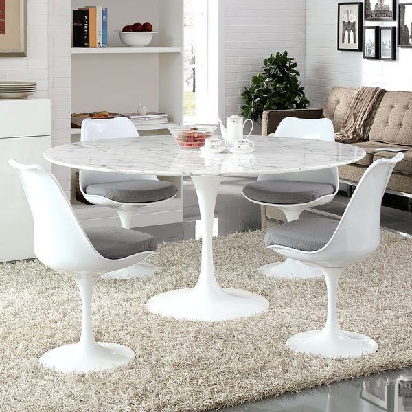 "Lippa 60"""" Artificial Marble Dining Table in White"