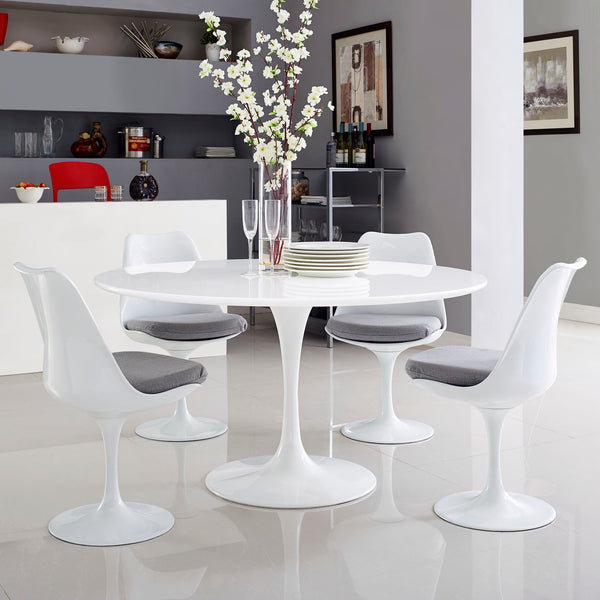 "Lippa 54"""" Wood Top Dining Table in White"
