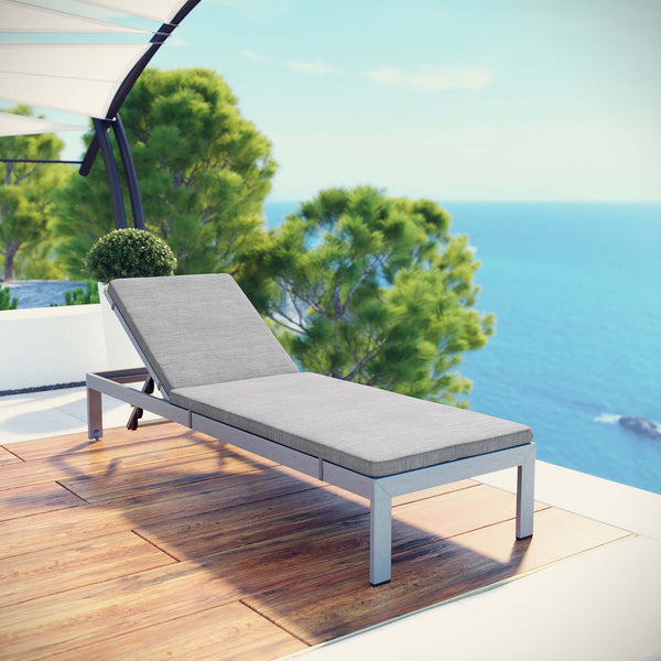 Shore Outdoor Patio Aluminum Chaise with Cushions - Silver Gray
