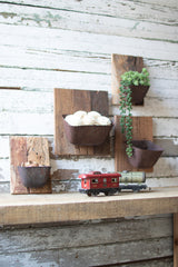 Assorted Set of Four Repurposed Metal and Wood Wall Flower Holders