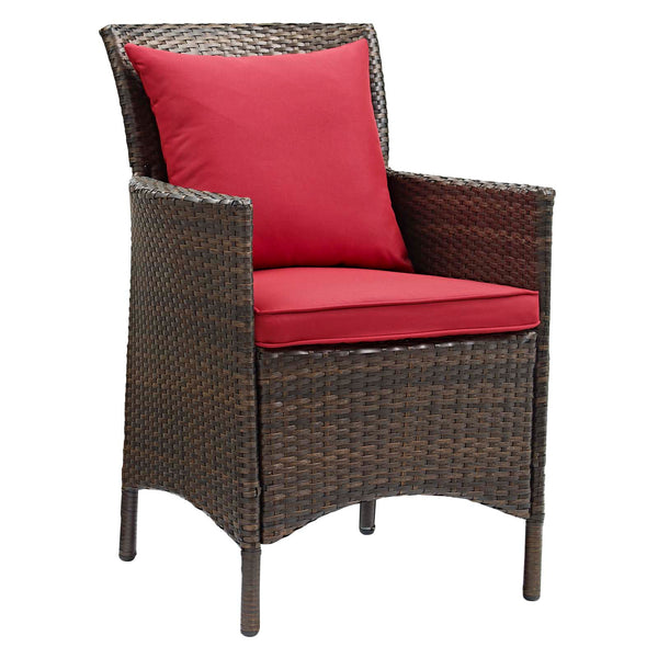 Conduit Outdoor Patio Wicker Rattan Dining Armchair Set of 4 - Brown Red