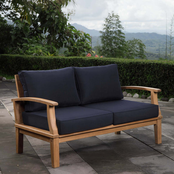 Marina Outdoor Patio Teak Loveseat - Natural Navy