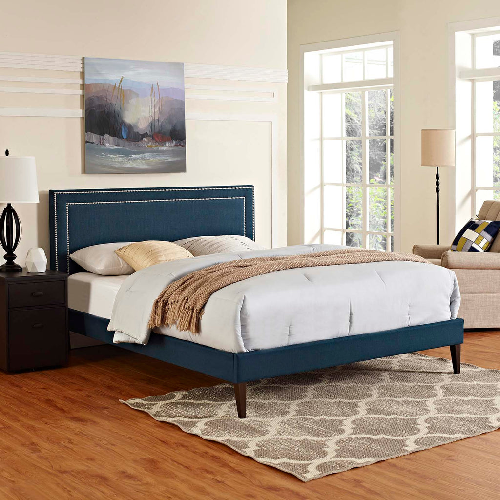 Virginia Full Fabric Platform Bed with Squared Tapered Legs - Azure