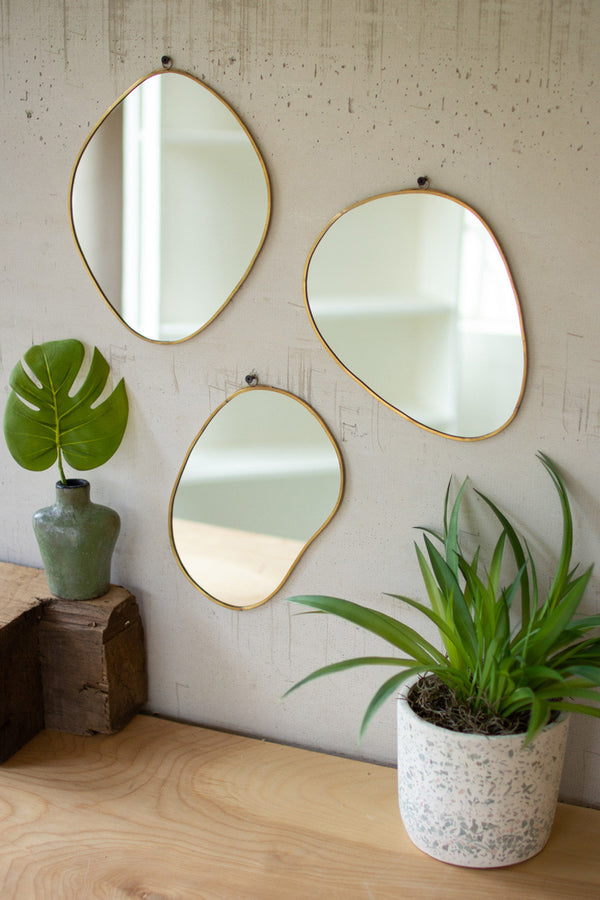 Set of Three Brass Framed Organic Shaped Mirrors