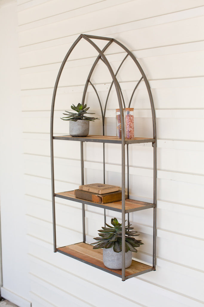 Recycled Wood and Iron Cathedral Shelf