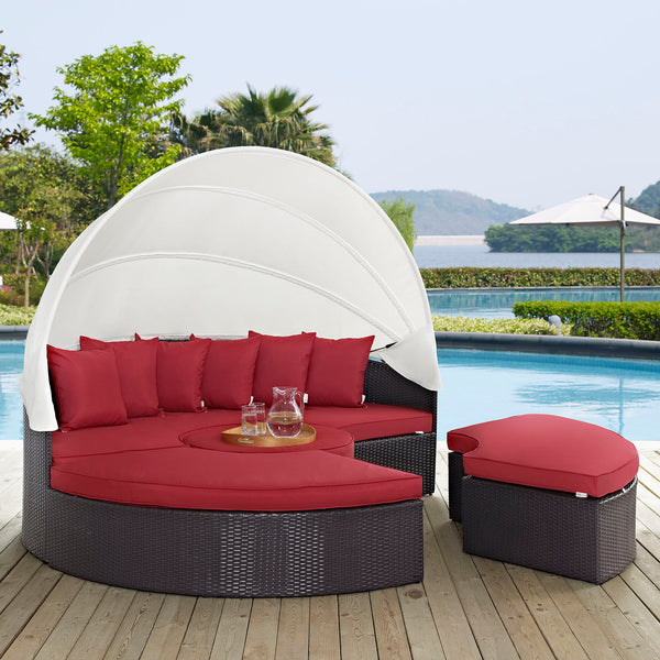 Quest Canopy Outdoor Patio Daybed - Espresso Red