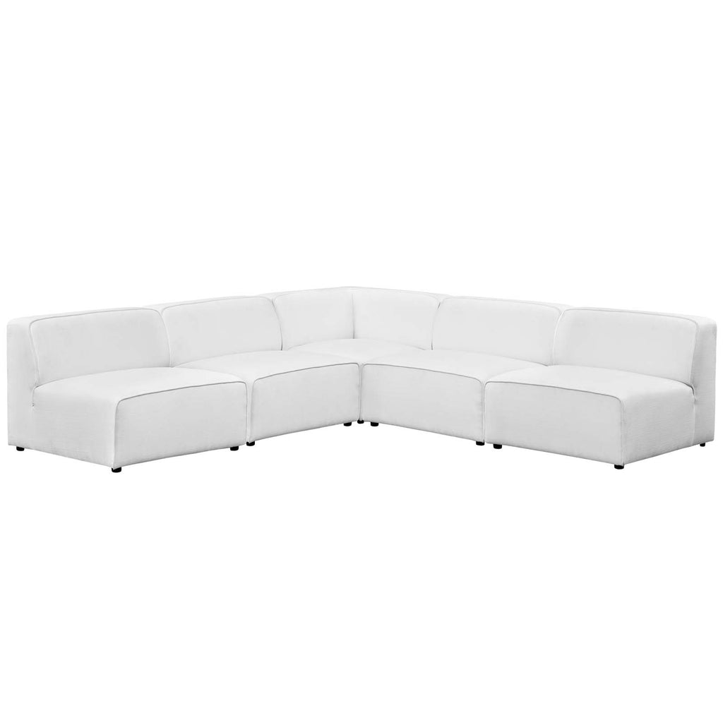 Mingle 5 Piece Upholstered Fabric Armless Sectional Sofa Set - White