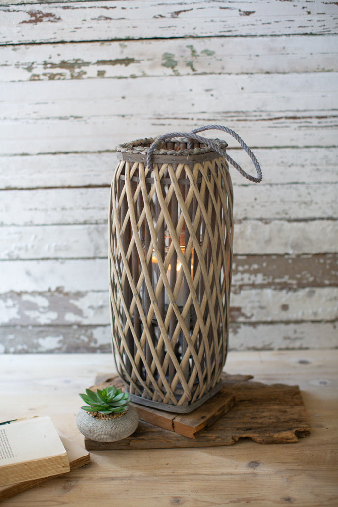 Tall Grey Square Willow Lantern - Small