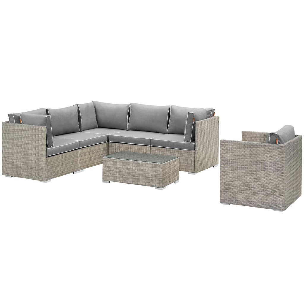 Repose 7 Piece Outdoor Patio Sectional Set - Light Gray Gray