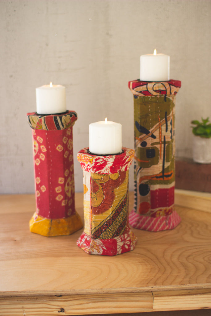 Set of Three Kantha Wrapped Candle Holders