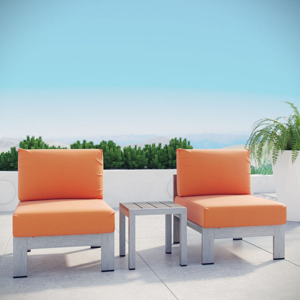 Shore 3 Piece Outdoor Patio Aluminum Sectional Sofa Set - Silver Orange