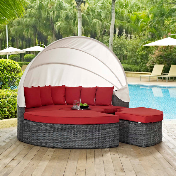 Summon Canopy Outdoor Patio Sunbrella Daybed - Canvas Red