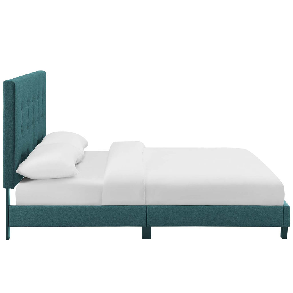 Melanie Queen Tufted Button Upholstered Fabric Platform Bed - Teal