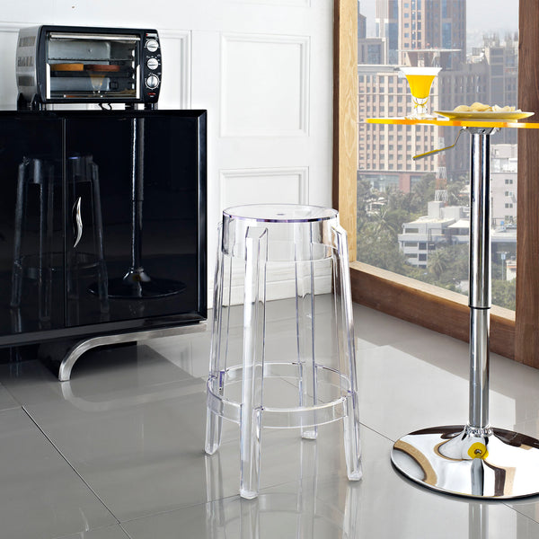 Casper Modern Acrylic Counter Bar Stool in Clear - Fully Assembled