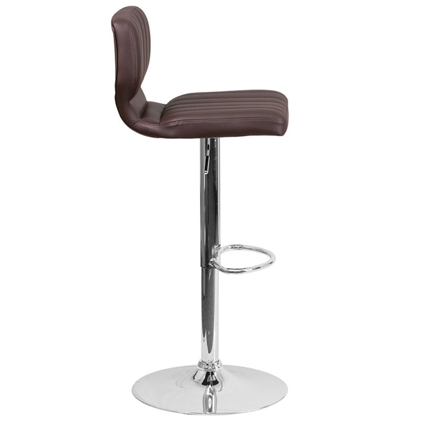 Contemporary Brown Vinyl Adjustable Height Barstool with Vertical Stitch Back and Chrome Base