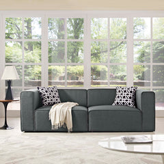 Mingle 2 Piece Upholstered Fabric Sectional Sofa Set - Gray