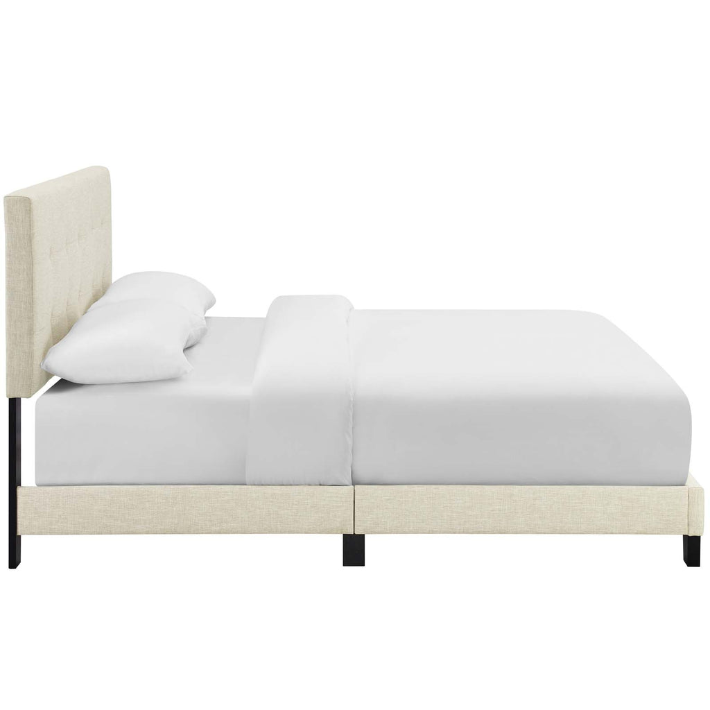 Amira Twin Upholstered Fabric Bed - Beige