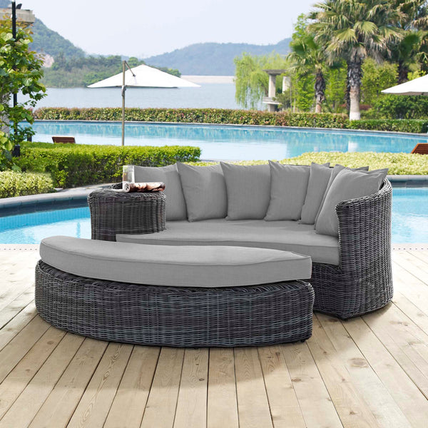 Summon Outdoor Patio Sunbrella Daybed - Canvas Gray