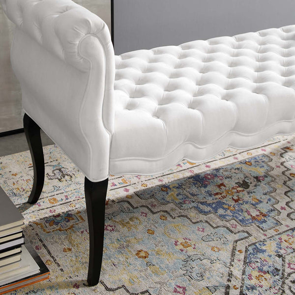 Adelia Chesterfield Style Button Tufted Performance Velvet Bench - White