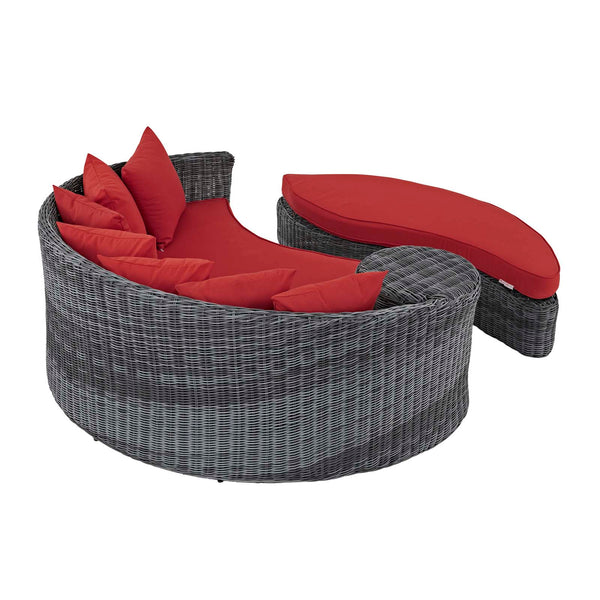 Summon Outdoor Patio Sunbrella Daybed - Canvas Red