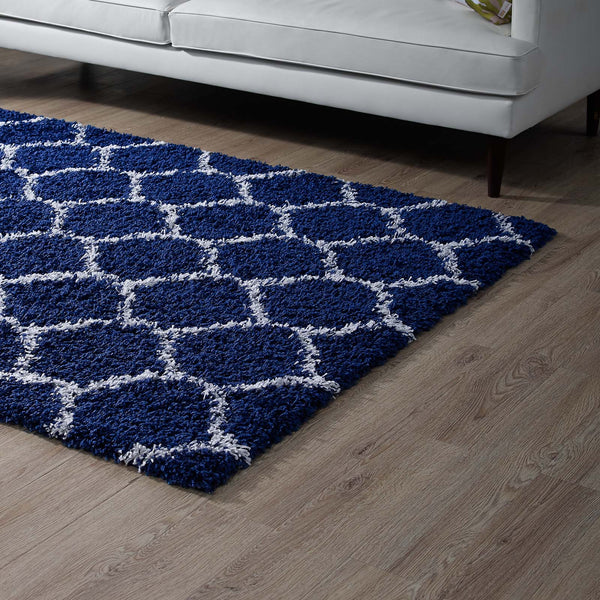 Solvea Moroccan Trellis 8x10 Shag Area Rug - Navy and Ivory