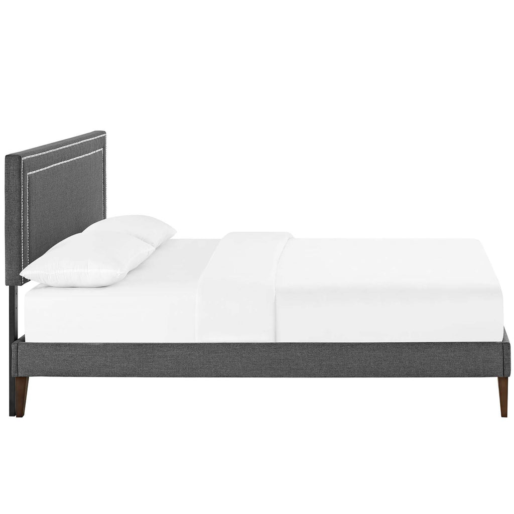 Virginia King Fabric Platform Bed with Squared Tapered Legs - Gray