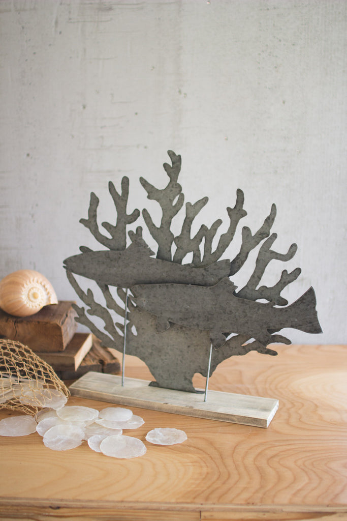 Metal Fish On a Wooden Base