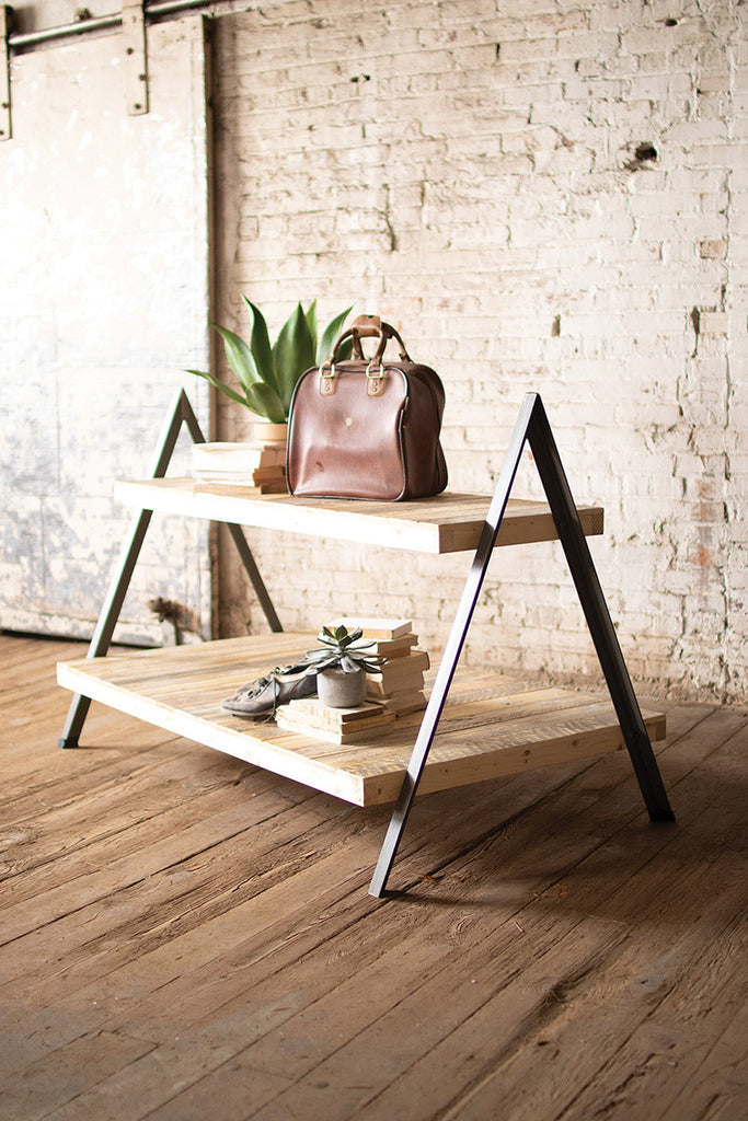 Recycled Wood and Metal 2 Tiered Display Table with A-frame Base