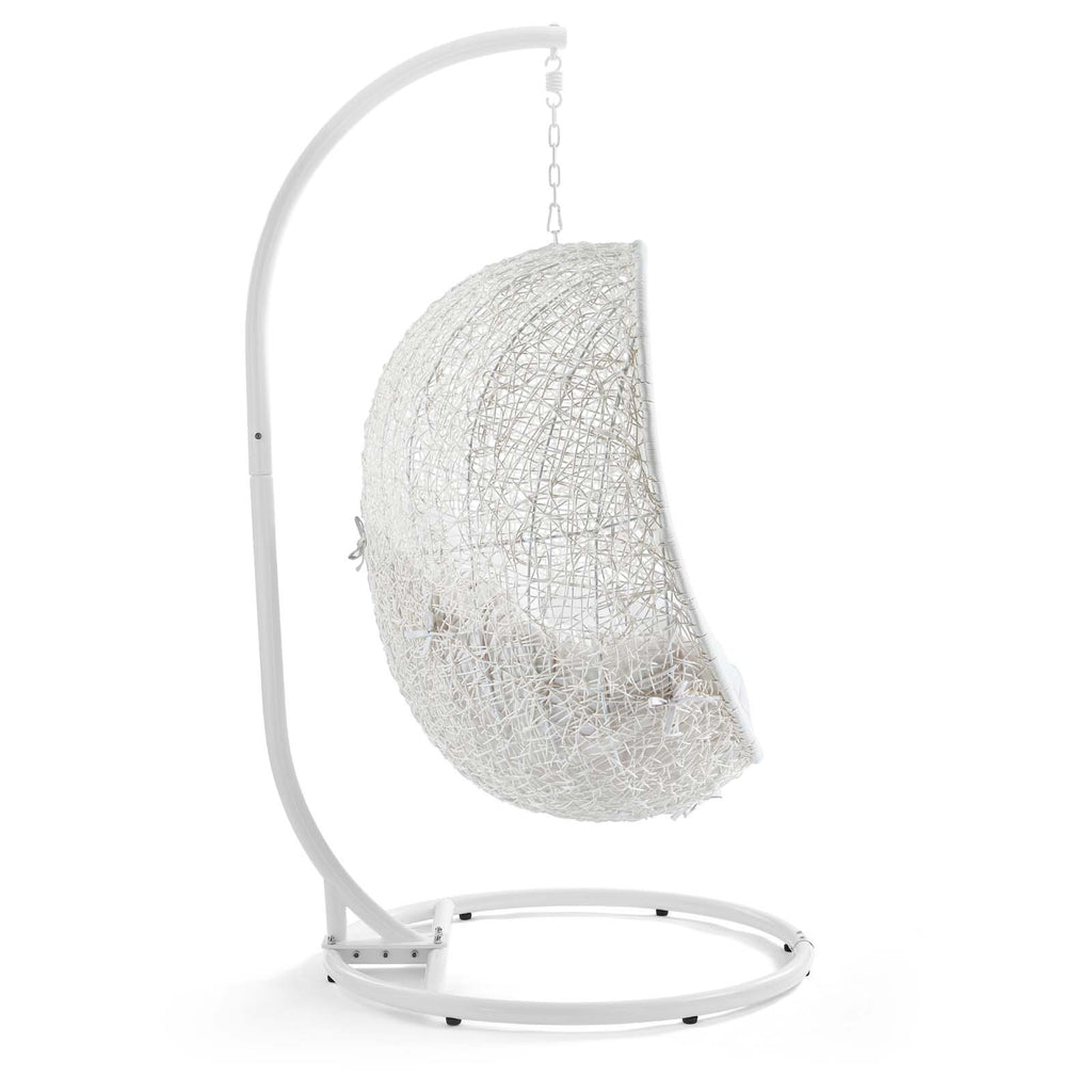Hide Outdoor Patio Sunbrella® Swing Chair With Stand - White White