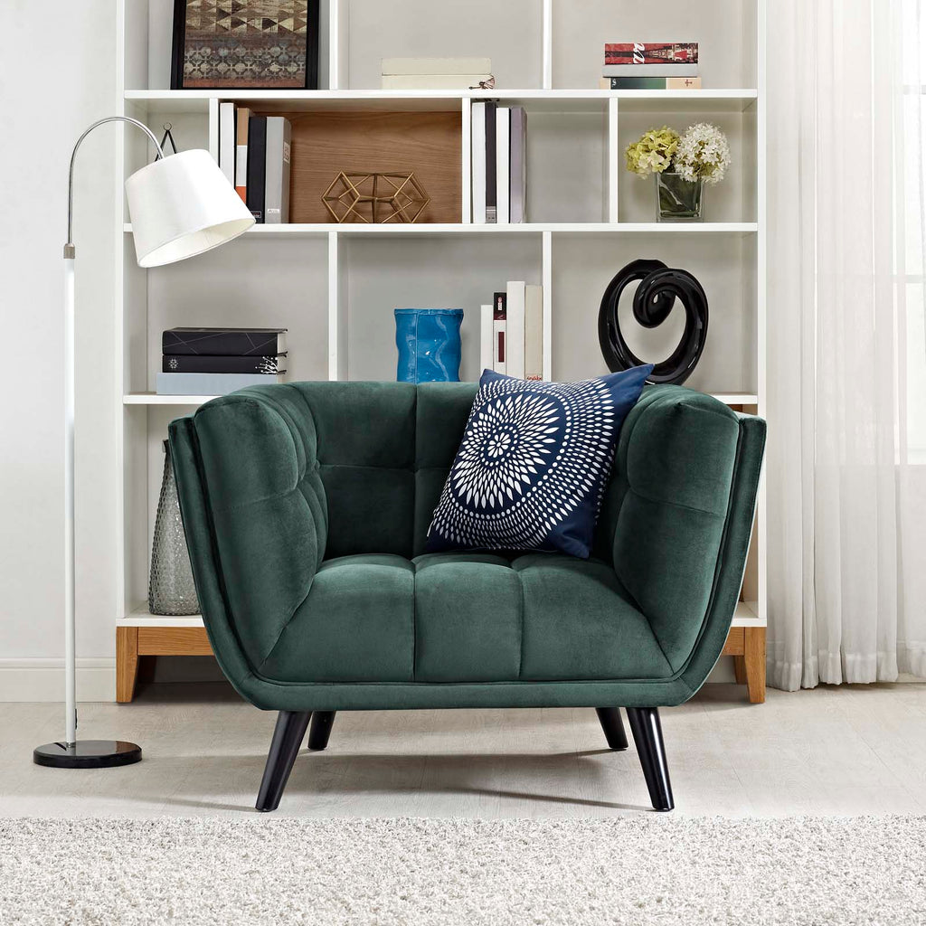 Bestow Performance Velvet Armchair - Green