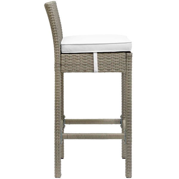 Conduit Bar Stool Outdoor Patio Wicker Rattan Set of 2 - Light Gray White