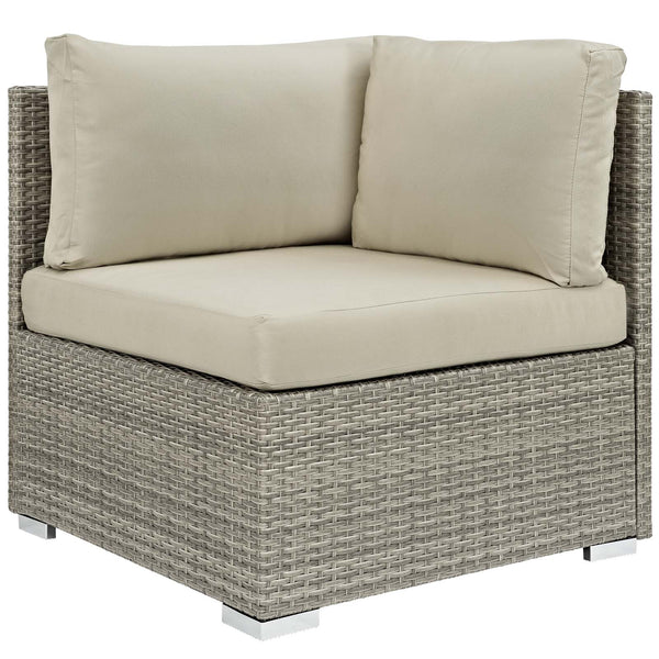 Repose 8 Piece Outdoor Patio Sunbrella Sectional Set - Light Gray Beige