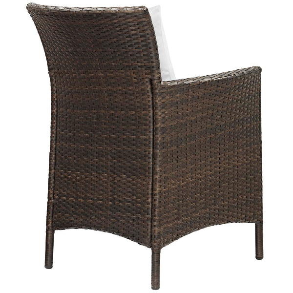 Conduit Outdoor Patio Wicker Rattan Dining Armchair Set of 4 - Brown White
