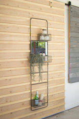 Metal Wall Ladder with Baskets and Mirror