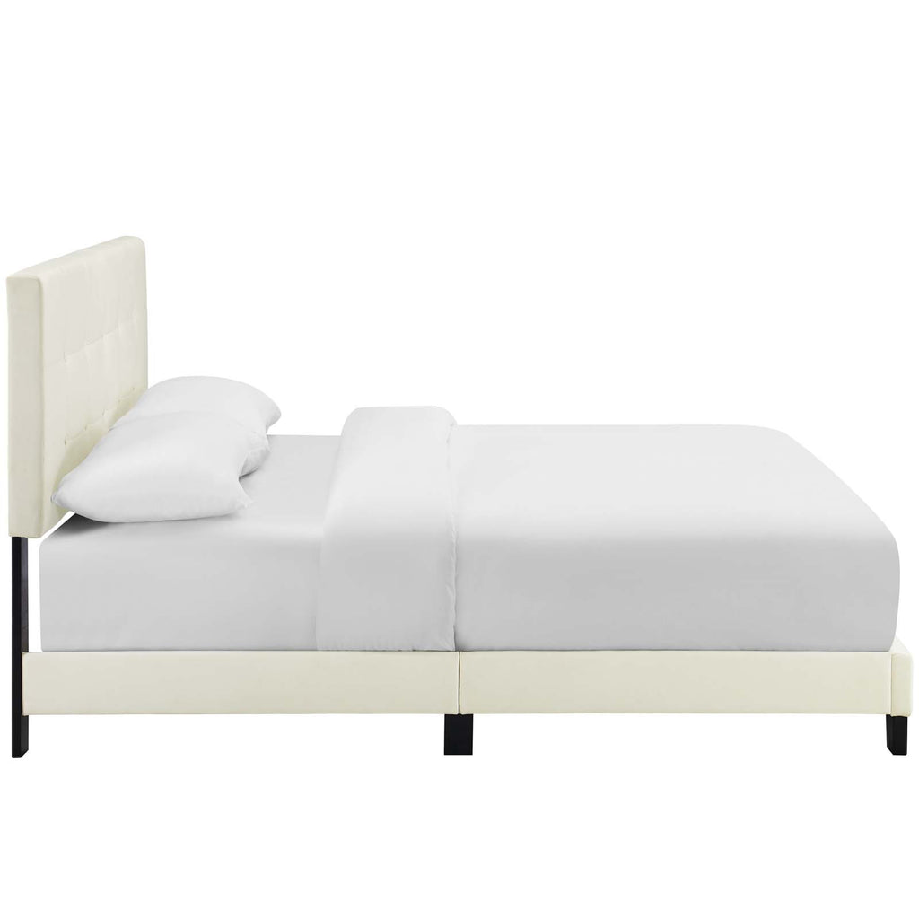 Amira Queen Performance Velvet Bed - Ivory